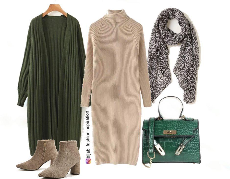khaki hijab outfit idea