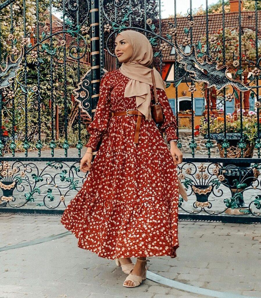 RED HIJAB SUMMER DRESS