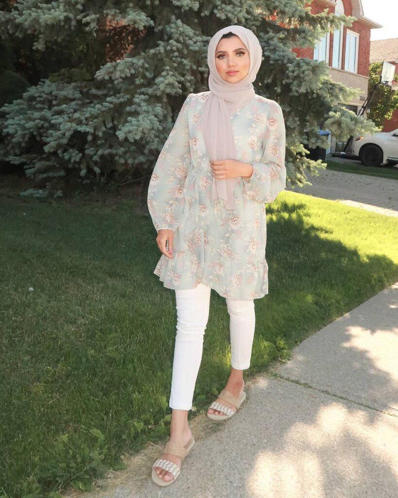 FLORAL SHORT HIJAB SUMMER DRESS