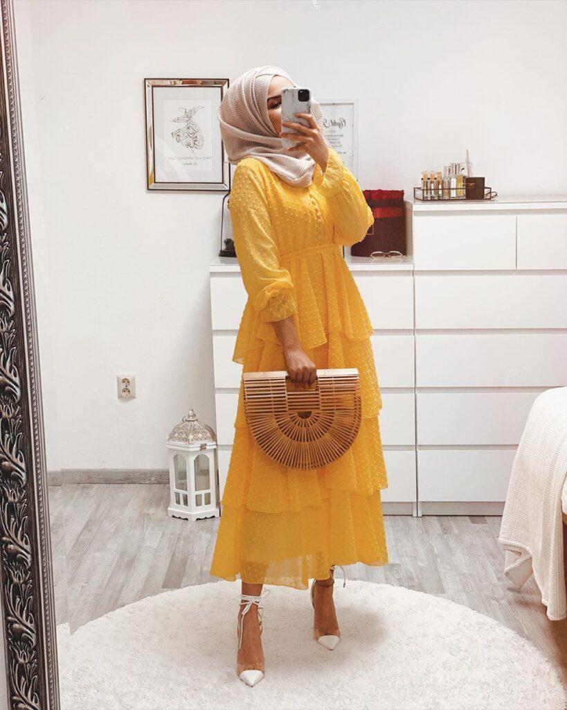 YELLOW HIJAB summer DRESS