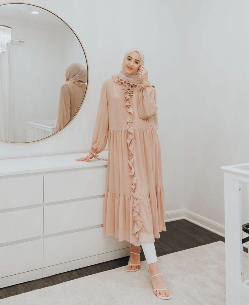 pink midi hijab dress