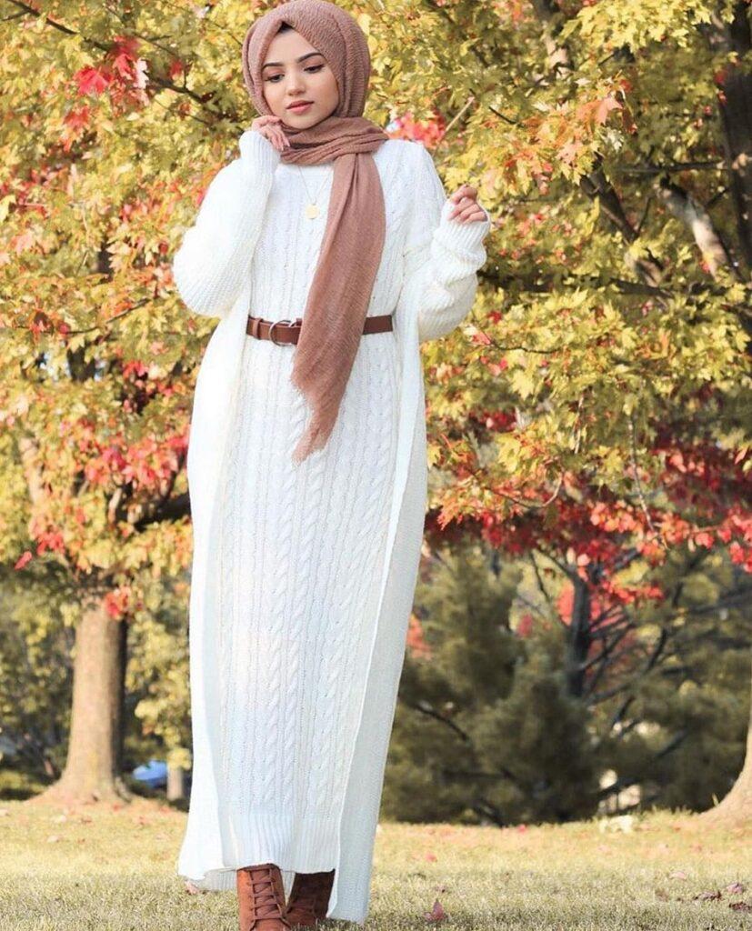 knit long hijab dress